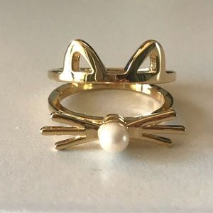 Kate Spade Out West Gold Pearl Cat Ring